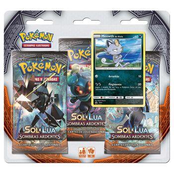 Triple-Pack-Pokemon-Meowth-Sol-e-Lua-3-Sombras-Ardentes