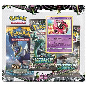 Triple-Pack-Pokemon-Tapu-Lele-Sol-e-Lua-7-Tempestade-Celestial-